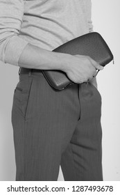 Unrecognisable man holding a briefcase