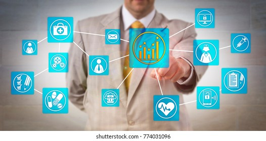 Unrecognizable business administrator touching a positive growth chart icon onscreen in a virtual admin network interface. Concept for health care systems management and healthcare administration.
