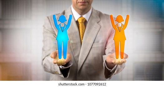 Unrecognizable business manager keeping two cheering female employee icons in balance. Concept for mediation, deal making, offer, positive outcome, negotiation, mutual trust, agreement, contract.