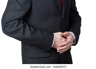 Unrecognizable businessman with a stomach pain isolated on white background