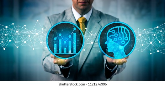 Unrecognizable businessman using an artificial intelligence platform for big data analysis. Corporate IT concept for pattern recognition, deep machine learning, detection of statistical outlier, AI.
