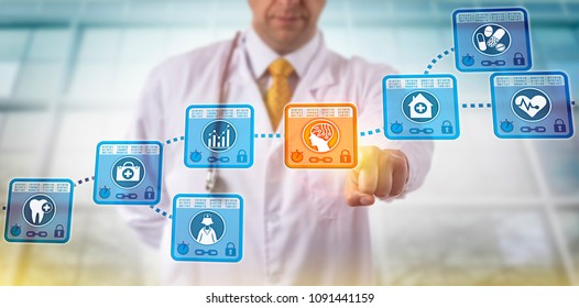Unrecognizable clinician selecting AI block in a blockchain of electronic medical records. Healthcare IT concept for efficiency improvement of health information exchange via artificial intelligence.