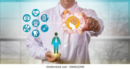 Unrecognizable clinician using artificial intelligence to access the medical records of a male patient. Pharma and health care concept for information augmentation, patient service, machine learning.