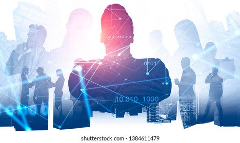Unrecognizable confident business leader, his team members and colleagues communicating over skyscraper background. Double exposure of network hologram. Startup concept. Toned image