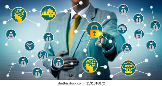 Unrecognizable corporate executive is countering an increasing number of cyber threats with a cybersecurity solution taking advantage of artificial intelligence. Information technology concept.