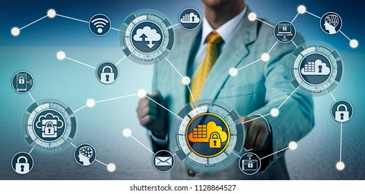 Unrecognizable corporate executive securing data in a cloud application. Information technology concept for cloud computing security, SaaS, software as a service, regulatory compliance, privacy.