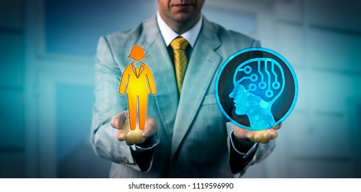 Unrecognizable corporate manager balancing out one female white collar worker and an artificial intelligence application. Business concept for human resources management, HRM, robolution and AI.