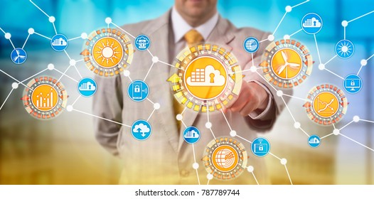 Unrecognizable corporate network administrator managing renewable energy applications via a secure cloud container interface. IT concept for containerized computing solution and containerization.