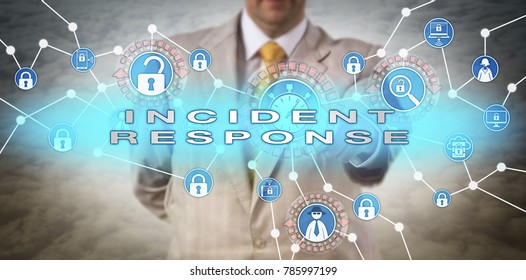 Unrecognizable cyber security manager initiating rapid INCIDENT RESPONSE in near real time. Cyber security concept for mitigation of data breach via grab-and-go response, system backup and recovery.