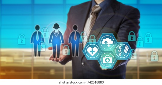 Unrecognizable database manager securing electronic healthcare data. Information technology concept for security in medical records management, corporate memory, audit trail in health care sector.