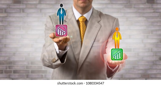 Unrecognizable director offering a rising back-up candidate for an underperforming executive. HRM concept for succession planning, performance management, internal staffing, executive continuity.