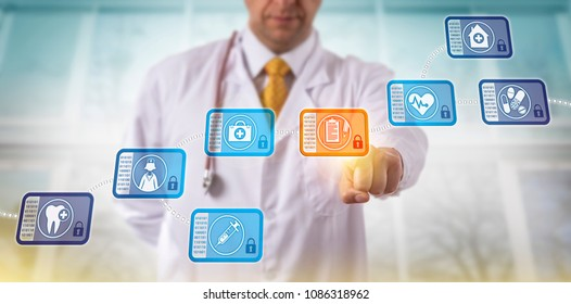 Unrecognizable doctor accessing medical records by selecting a data block in a healthcare blockchain. Internet technology in health care concept for database management via peer-to-peer network.