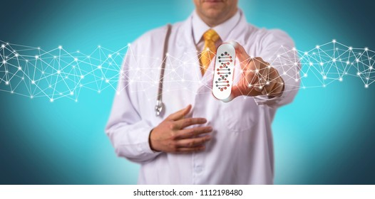 Unrecognizable doctor of medicine is offering a drug tailored via pharmacogenomics. Health care concept for precision medication, personalized medicine, predictive prescribing, pharmacogenetics.