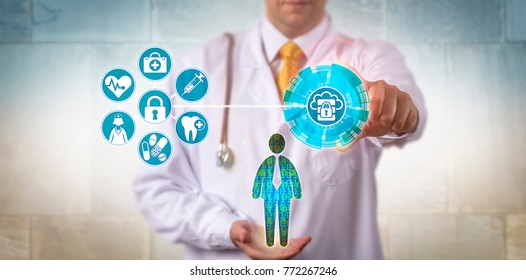 Unrecognizable doctor of medicine securing access to electronic health records of a male patient. Healthcare and IT concept for virtualization security, health information exchange and data access.