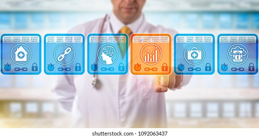Unrecognizable doctor of medicine selecting analytics data block in medical blockchain. Healthcare IT concept for health information exchange via distributed ledger technology, predictive analytics.
