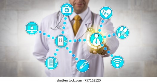 Unrecognizable doctor of medicine is touching a male white collar patient via internet connection. Healthcare technology concept for telemedicine, remote management of chronic disease, telepresence.