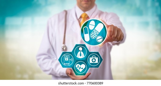 Unrecognizable doctor offering a prescription update to a male patient via internet connection and smart phone. Healthcare technology concept for telemedicine, telepresence, remote health check-up.