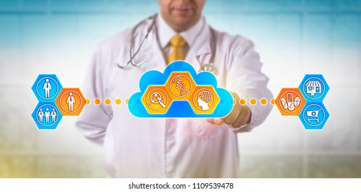 Unrecognizable doctor using cloud based software for faster analysis of genomic information to decide on drug treatment for a male patient. Concept for pharmacogenomics, pharmacogenetics, AI, health.