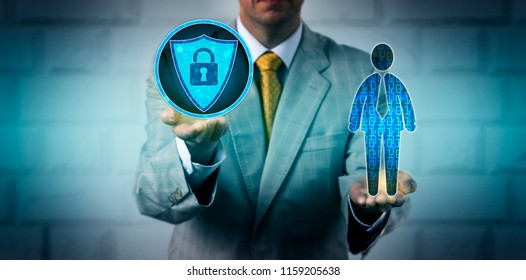Unrecognizable enterprise executive scanning data of an employee with an antivirus application. IT concept for information security, data compliance, firewall, recruitment technology, authentication.