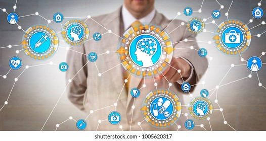Unrecognizable health care IT administrator activating machine intelligence via internet of things. Tech concept for artificial intelligence, computer science, machine learning, robotics research.