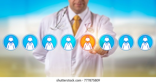 Unrecognizable health care service provider is selecting one female nurse icon in a lineup of eight. Healthcare concept for medical recruitment, staffing, talent acquisition and human resources.