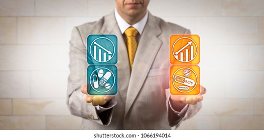 Unrecognizable health insurance manager is projecting the profit margin of premium specialty drugs compared with the traditional prescription drug market. Pharmaceutical and life sciences concept.