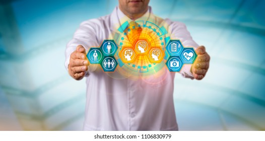 Unrecognizable healthcare provider integrating patient data with smart machines. Health care data management metaphor for artificial intelligence, AI, digital health technology, computing power.
