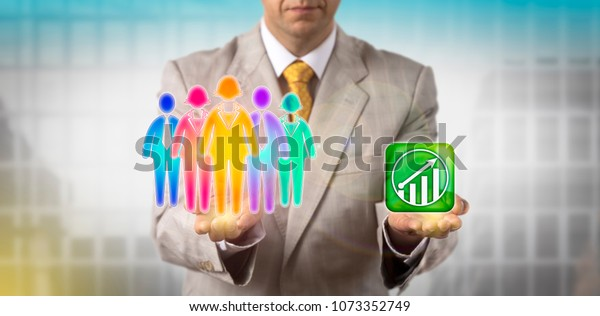 Unrecognizable HR manager is balancing a multicolored work team of five versus an upward growth trend icon. Business concept for HRM, cultural diversity, inclusion policy, teamwork and staffing.