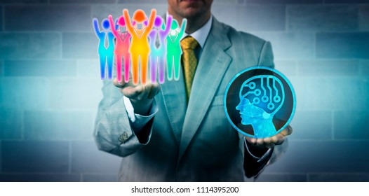Unrecognizable HR manager raising a cheering winning multicultural white collar work team above an artificial intelligence application. Business concept for cultural diversity, inclusion, success.