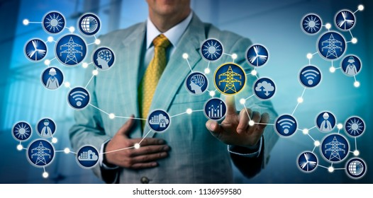 Unrecognizable independent power producer activates electrical microgrid. Industry concept for energy digitization, grid ecosystem, bi-directional flow of power, decentralized energy resources, DER.