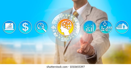 Unrecognizable logistics manager activating an AI application. Technology concept for self-learning system, artificial intelligence, price prediction, machine learning, supply and demand estimate.