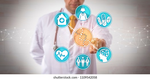 Unrecognizable male clinician integrating genomic data into clinical workflow. Healthcare concept for pharmacogenomics, pharmacogenetics, personalized health care, genome sequencing, genetic testing.