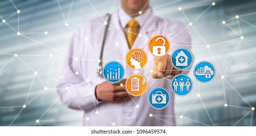 Unrecognizable male clinician securely accessing electronic health records via AI in a network. Health care sector IT concept for EHR, HIM, health information management, artificial intelligence.