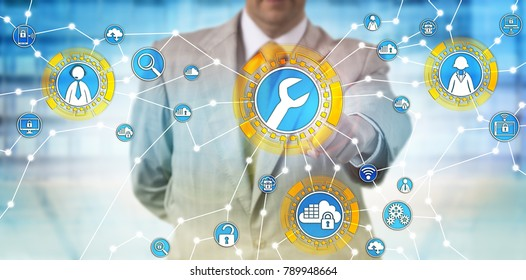 Unrecognizable male corporate manager is activating managed services via touch screen interface. Enterprise computing concept for outsourced IT management, technical support and cloud computing.