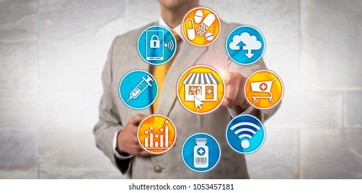 Unrecognizable male pharmaceutical marketing manager initiating a retail transaction via a pharma web shop application. Concept for online pharmacy, self-care, wellness and healthcare consumerism.