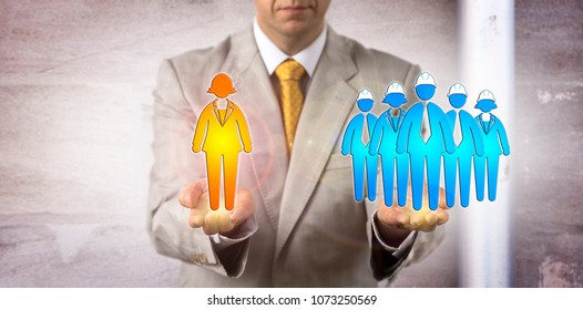 Unrecognizable manager balancing a female white collar manager versus a group of five blue collar workers. Concept for mediation, facilitation, conciliation, conflict, counseling, negotiation, HRM.