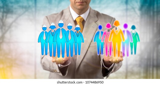 Unrecognizable manager balancing a group of five multi-cultural white collar employees and a blue collar work team. Human resources management metaphor for mediation, multiculturalism in workplace.