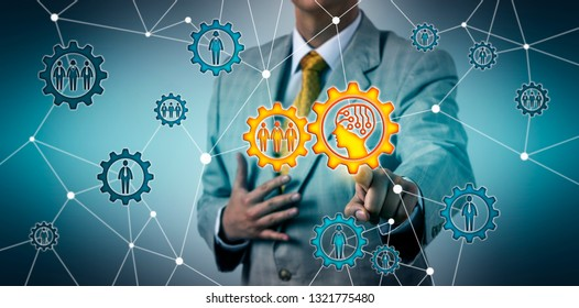 Unrecognizable manager connecting with work team via AI app on cog wheel. Technology concept for artificial intelligence, social or P2P network, marketing, communication, recruitment, HR management.
