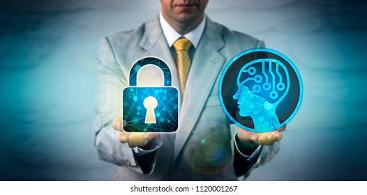 Unrecognizable IT manager equating an artificial intelligence application with a locked padlock. Business technology concept for data privacy, robolution, AI, deep machine learning, cyber security.