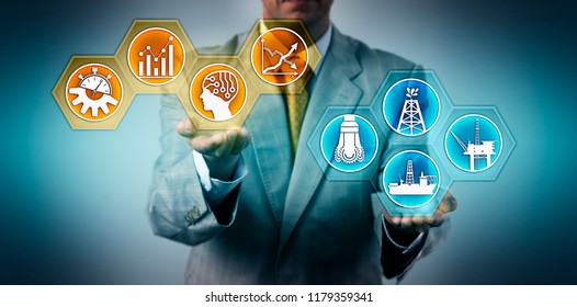 Unrecognizable manager presenting real time solution for analyzing of drilling data. Industry and technology concept for data quality, big data analysis, AI, digital future, maximizing productivity.