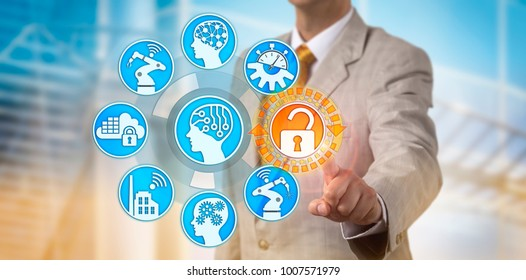 Unrecognizable manager unlocking secure information access to internet of things. Cyber and data security concept for artificial intelligence, industry 4.0, cyber-physical system, smart factory.