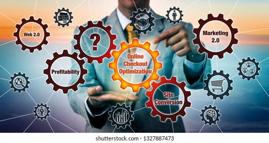 Unrecognizable marketing consultant highlighting Online Checkout Optimization on a cog wheel in virtual gear train. Business concept for marketing 2.0, internet retail, online commerce, web 2.0.