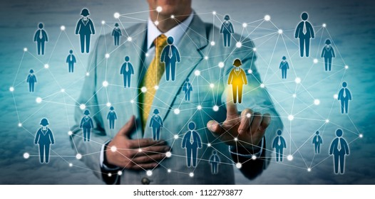 Unrecognizable marketing executive selecting one female customer in a professional network. Business technology concept for CRM, talent sourcing, networking, prospecting, targeting, recruitment.