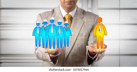 Unrecognizable mediator balancing blue collar workers and one white collar. Concept for human resources management, workplace mediation, contractual dispute resolution, worker compensation claim.