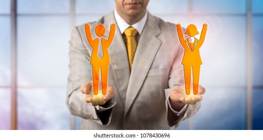 Unrecognizable mediator presenting one male and female cheering employee. Business concept for win win outcome, mediation, conflict resolution, collaborative strategy, partnership, gender equality.