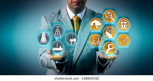 Unrecognizable oil and gas executive optimizing well performance via virtual interface. Industry and tech concept for efficient preventive maintenance, use of digital tools for improved operations.