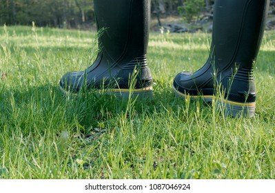 unrecognizable person in rubber work boots walking in grass