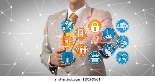 Unrecognizable pharma administrator securely accessing patient data via wireless network. IT concept for pharmaceutical data security compliance, bring your own device, BYOD, privacy, governance.