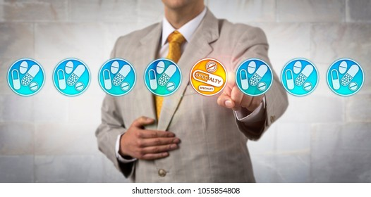 Unrecognizable pharma marketer selecting the only specialty drug icon in a line-up of non-specialty pharmaceuticals. Healthcare retail concept for medical products as treatment for special diseases.