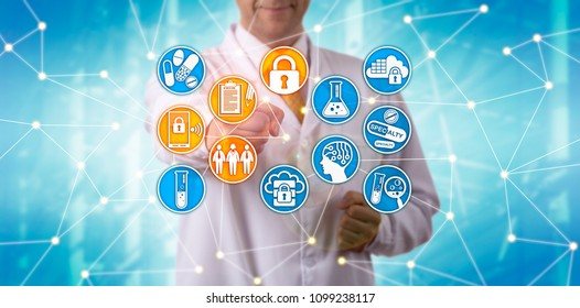 Unrecognizable pharma scientist securely accessing patient data in a network. IT concept for pharmaceutical data security governance,  compliance management system, data retention, user privacy.